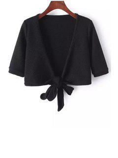 Kreuz Gefesselt Solid Color Zustell-Ausschnitt Kurzarm Bluse - Schwarz L