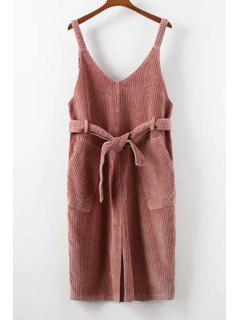 Double Pockets Scoop Neck Strap Corduroy Dress - Pink