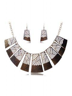 Hollow Out Rectangle Necklace And Earrings - Golden
