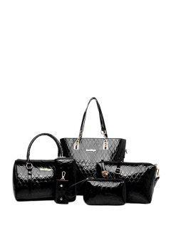 Letter Checked Patent Leather Shoulder Bag - Black