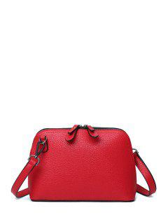 Solid Color Zip Stitching Crossbody Bag - Red