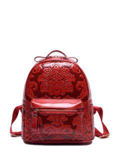Floral Embossed Solid Color Satchel - Wine Red