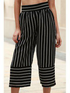 Stripe High Waist Wide Leg Capri Pants - White And Black L