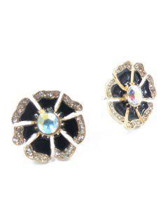 Chic Rhinestone Glaze Floral Earrings - Black
