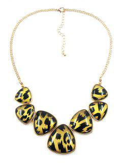 Trendy Triangle Leopard Print Necklace - Golden