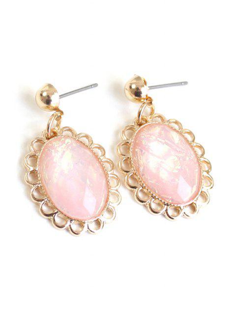 lady Oval Faux Gemstone Earrings -   Mobile