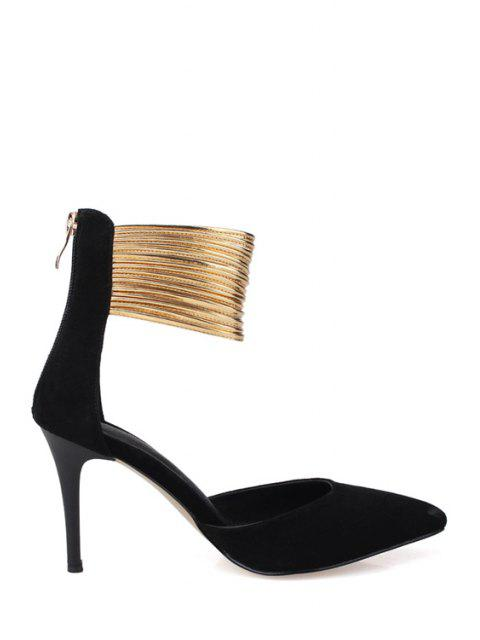best Color Block Zip Pointed Toe Pumps - BLACK 38 Mobile