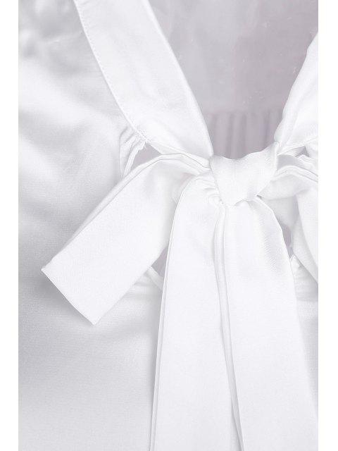 Solide Couleur V-Neck manches longues Lace Up Blouse - Blanc M Mobile