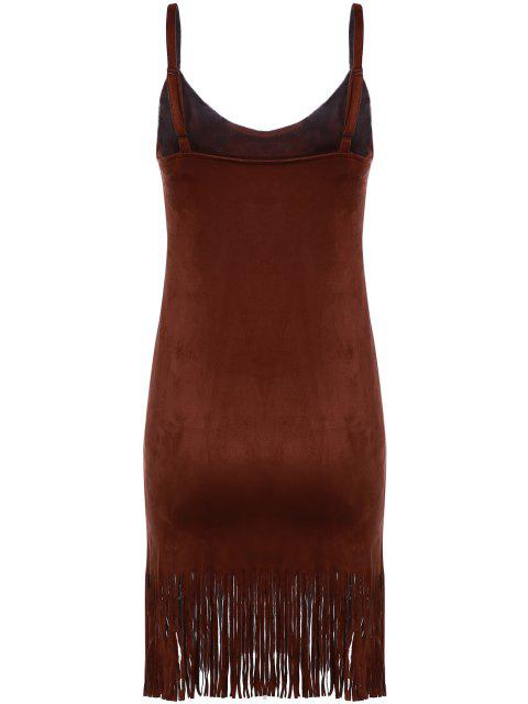 online Spaghetti Strap Fringed Suede Dress - BROWN M Mobile