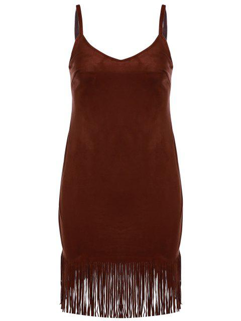 new Spaghetti Strap Fringed Suede Dress - BROWN L Mobile