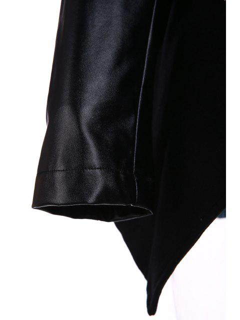 women Open Front PU Leather Sleeve Trench Coat - BLACK M Mobile