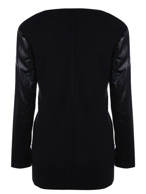 womens Open Front PU Leather Sleeve Trench Coat - BLACK S Mobile