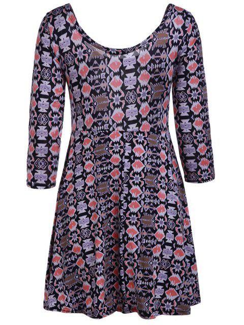 affordable Geometric Print Scoop Neck 3/4 Sleeve Dress - KHAKI L Mobile