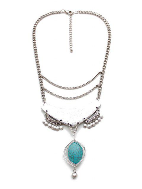 shop Stylish Turquoise Oval Drop Necklace - SILVER  Mobile