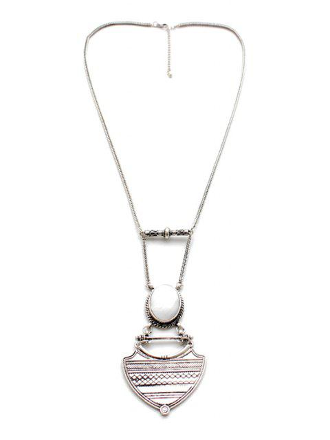 buy Vintage Alloy Geometric Pendant Sweater Chain - SILVER  Mobile