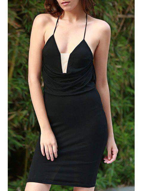 fashion Black Cami Bodycon Dress - BLACK XL Mobile