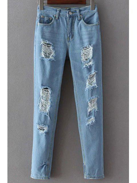 fancy Broken Hole Narrow Feet Jeans - LIGHT BLUE S Mobile