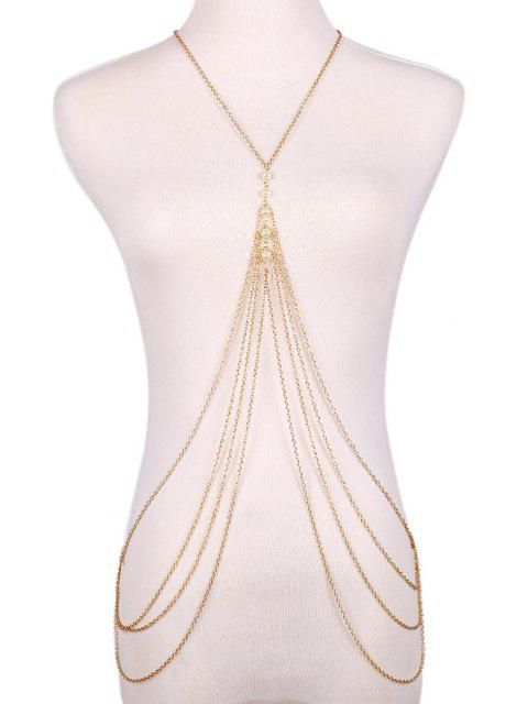 fashion Faux Pearl Decorated Multi-Layered Body Chain -   Mobile