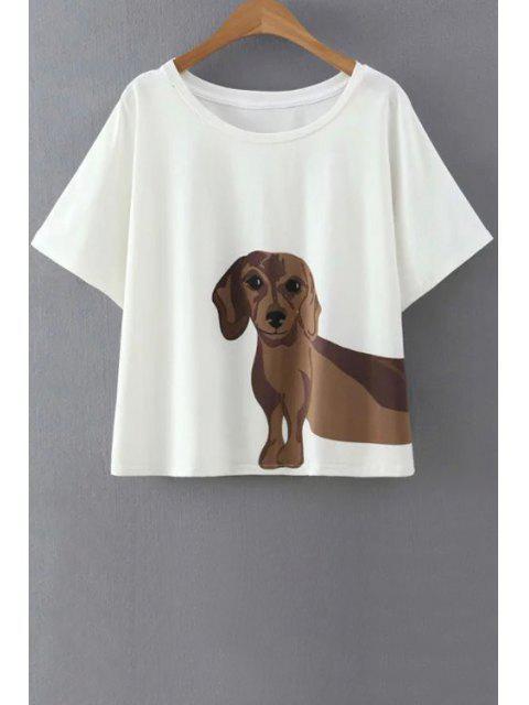 Patrón perrito blanco de la camiseta - Blanco L Mobile