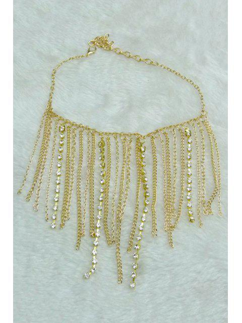 trendy Stylish Rhinestoned Link Chain Anklet - GOLDEN  Mobile