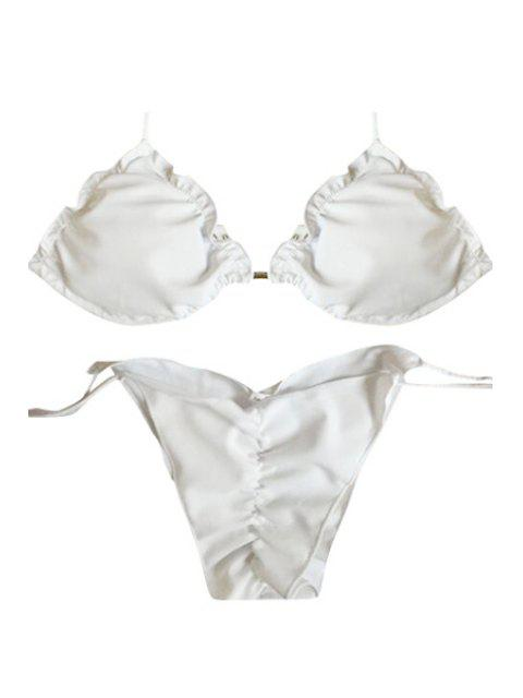 Weiß gekräuselte Halter Bikini-Set - Weiß L Mobile