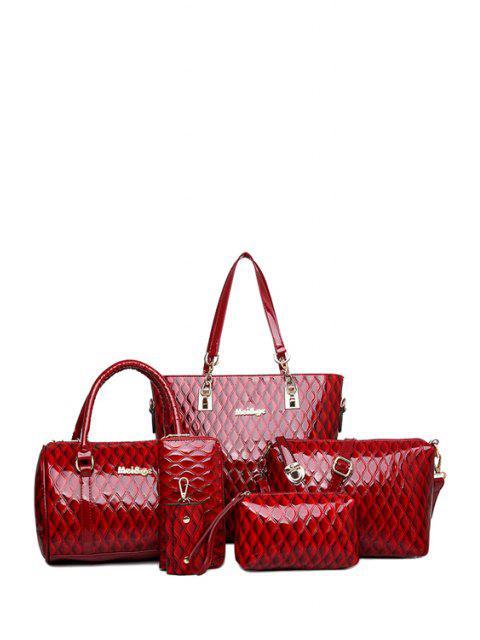 trendy Letter Checked Patent Leather Shoulder Bag -   Mobile