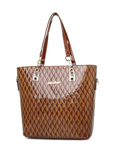 shop Letter Checked Patent Leather Shoulder Bag -   Mobile