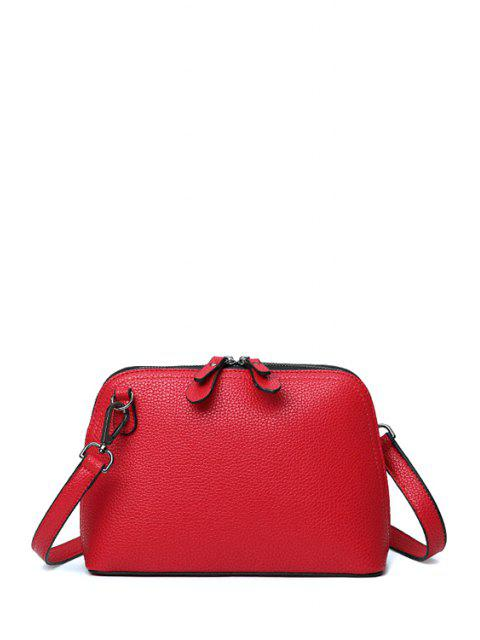 latest Solid Color Zip Stitching Crossbody Bag - RED  Mobile