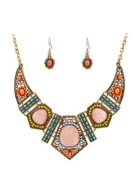 shops Vintage Geometric Resin Necklace and Earrings -   Mobile