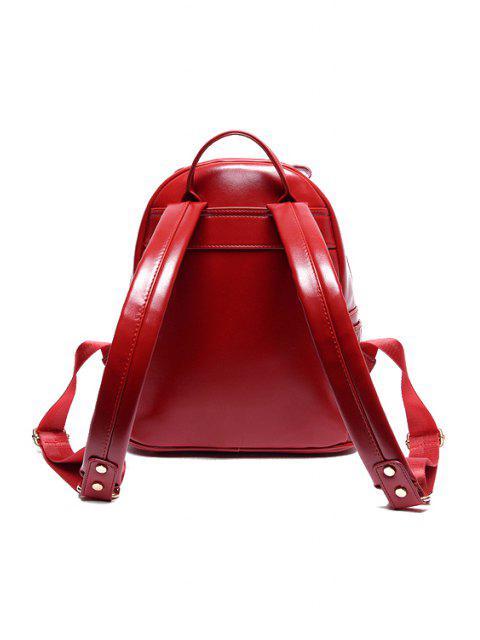 best Floral Embossed Solid Color Satchel - WINE RED  Mobile