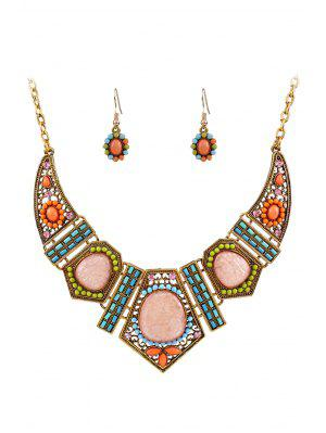 Vintage Geometric Resin Necklace And Earrings - Golden