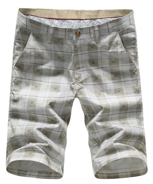 Plus Size Straight Leg Color Block Plaid Zipper Fly Minceur Shorts pour hommes