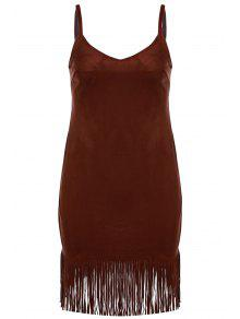 Spaghetti Strap Fringed Suede Dress - Brown S