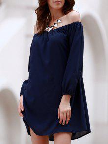 قبالة الكتف طويلة الأكمام فستان من الشيفون تونك - ازرق غامق L