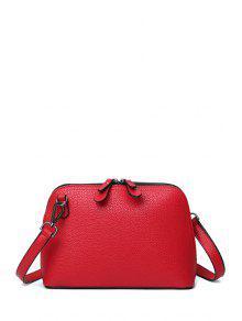 حقيبة كروسبودي بسحاب ذات لون صلب - أحمر