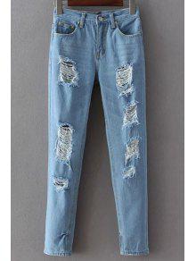 Jeans à Trous à  Pieds étroits - Bleu Clair S