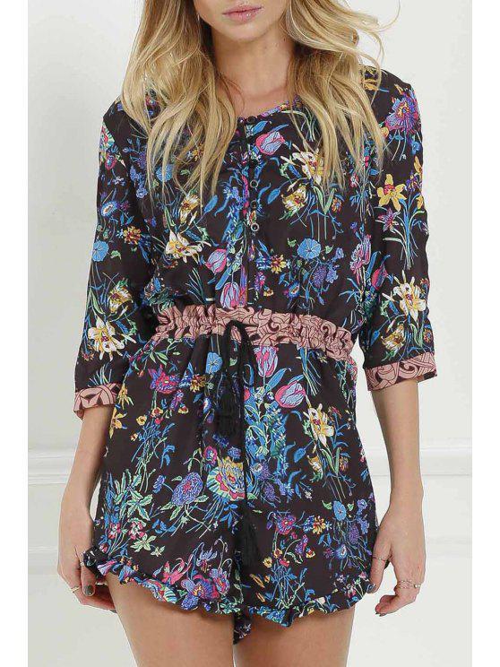 fashion Full Floral Scoop Neck 3/4 Sleeve Romper - BLACK L