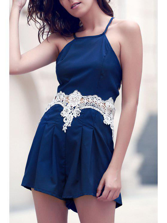 lady Lace Insert Cami Romper - PURPLISH BLUE S