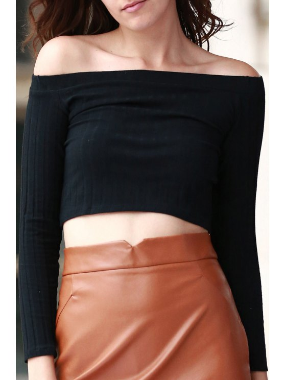 lady Off The Shoulder Solid Color Long Sleeve T-Shirt - BLACK L