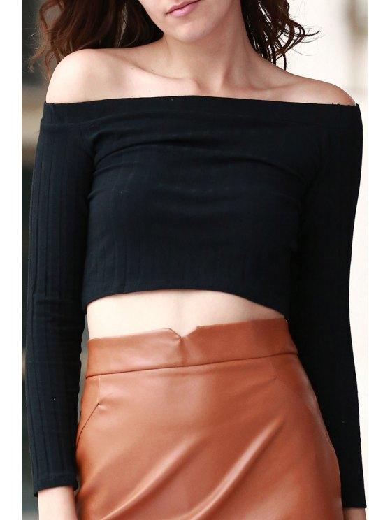 Del hombro del color sólido de manga larga de la camiseta - Negro M