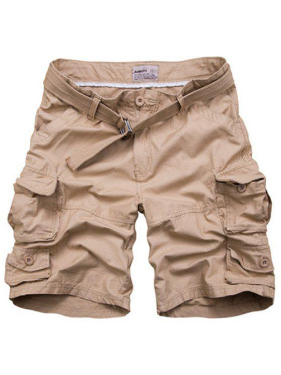 hot Zipper Fly Pockets Design Straight Leg Shorts For Men - KHAKI 3XL