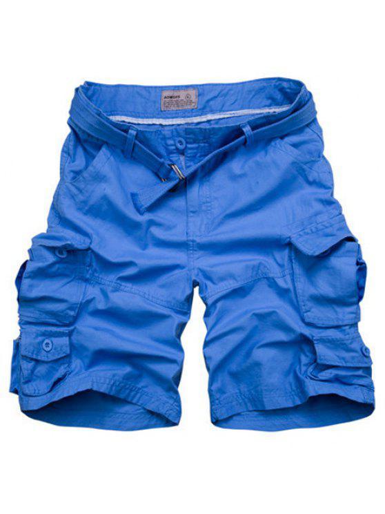 Cierre con cremallera Bolsillos diseño de los cortocircuitos de pierna recta para hombres - Azur M