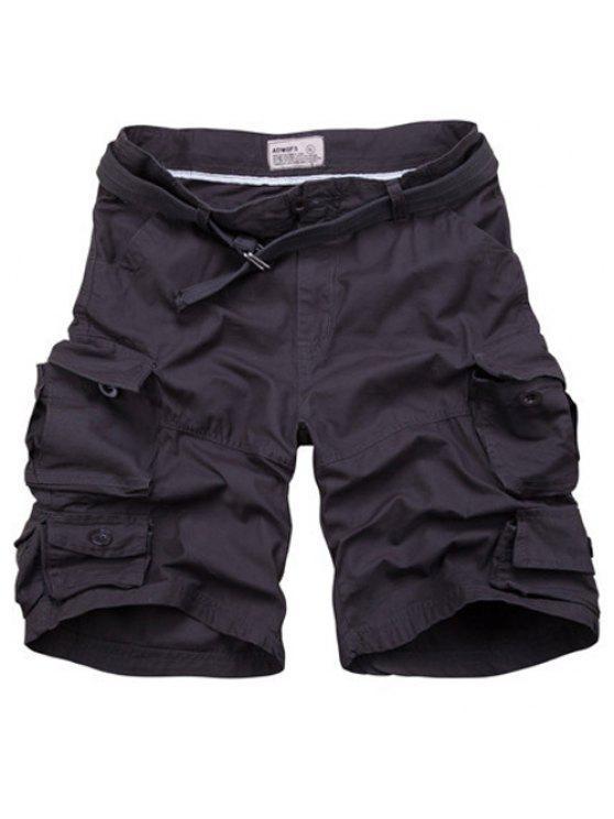 Cierre con cremallera Bolsillos diseño de los cortocircuitos de pierna recta para hombres - Negro Gris 3XL