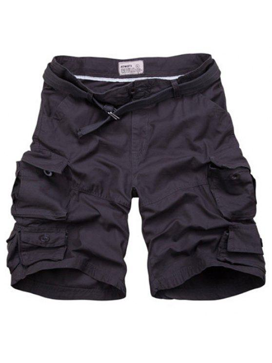 fancy Zipper Fly Pockets Design Straight Leg Shorts For Men - BLACK GREY L