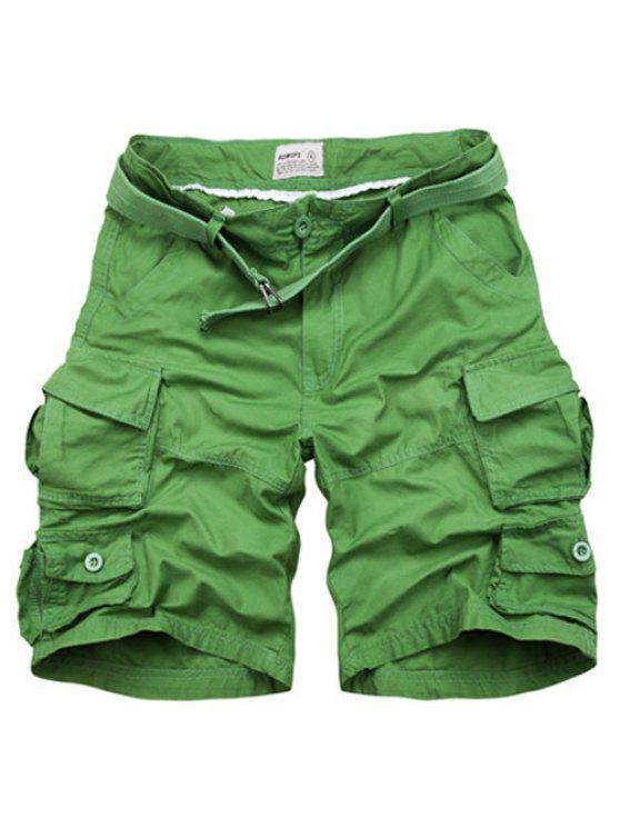 Cierre con cremallera Bolsillos diseño de los cortocircuitos de pierna recta para hombres - Verde de Hierba  2XL