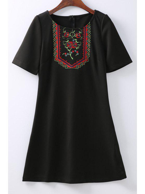 online Retro Embroidered Zippered Round Neck Short Sleeve Black Shift Dress - BLACK S