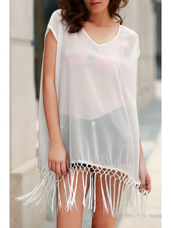outfit Solid Color Fringe Short Sleeve Cover-Up - WHITE ONE SIZE(FIT SIZE XS TO M)