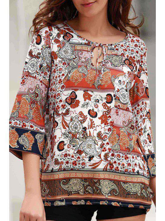 Impreso de cuello redondo de manga larga de encaje hasta la blusa - Colormix S