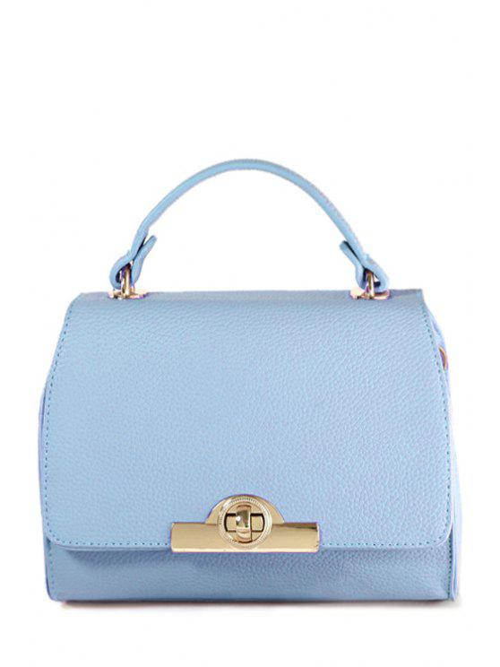 outfit Solid Color Hasp Metallic Tote Bag - BLUE