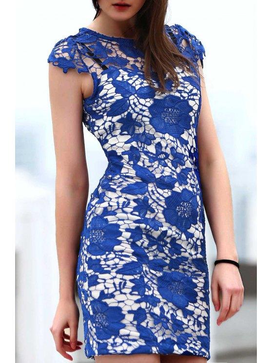 best Blue Lace Short Sleeve Slimming Dress - BLUE S